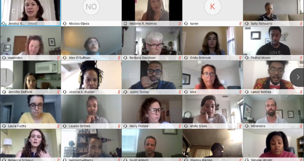 A screenshot of the first Social Studies Standards Advisory Committee meeting. It is a gallery view of all participants.